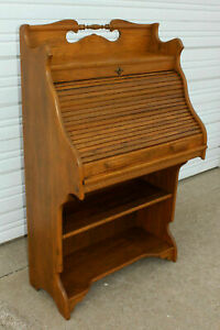 Rare Size Antique Solid Oak S Roll Top Desk Pull Out Surface Bottom Bookshelves