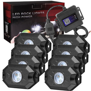 Cree Rgb Led Rock Lights 8 pods Wireless Bluetooth Music Multi Color Atv Utv 4wd