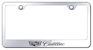 Cadillac New Logo Laser Etched Logo License Plate Frame Mirror Chrome Finish