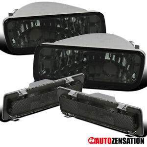 For 85 92 Chevy Camaro Smoke Bumper Lights Turn Signal Lamps side Markers 4pc