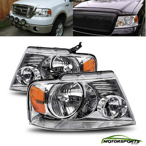 For 2004 2008 Ford F150 06 08 Lincoln Mark Lt Crystal Chrome Headlights Set