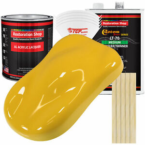 Canary Yellow Acrylic Lacquer Gallon Auto Paint Kit Medium Thinner