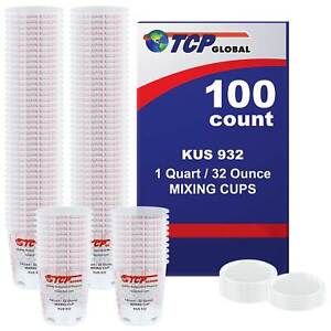 32 ounce 1 Quart Paint Epoxy Mixing Cup Calibrated Ratios 100 Cups 12 Lids