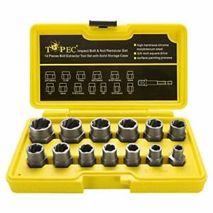 Topec Impact Bolt Nut Remover Set 13 1 Pieces Nut Extractor Socket