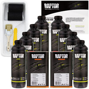 U Pol Raptor Tintable Spray On Truck Bed Liner Kit Tray Brush 8 Liters