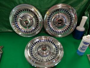 15 1963 Oldsmobile Starfire 98 Accessory Hubcaps W Spinner Center Qty 3