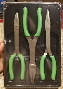 New 2019 Snap On Sealed Green Long Nose Stork Pliers Set Pl308cfg
