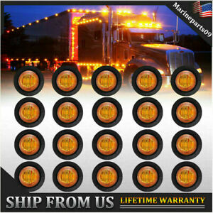 20x 3 4 Bullet 3led Side Marker Lights Trailer Truck Turn Light Clearance Light