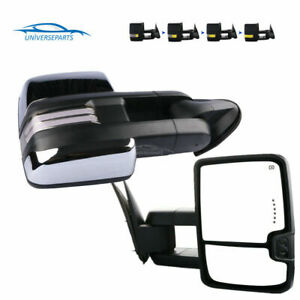 Chrome Power Heated Signal Tow Mirror For 99 02 Chevrolet Silverado Gmc Sierra
