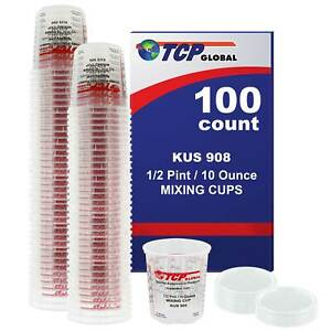 8 Ounce 1 2 Pint Paint Epoxy Mixing Cup Calibrated Ratios 100 Cups 12 Lids