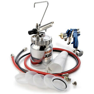 Devilbiss Finishline 4 Pressure Feed Hvlp Paint Spray Gun 2 Quart Cup Pot Kit