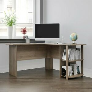 L shaped Computer Laptop Small Corner Home Office Desk With Side Storage