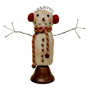 Primitive Fabric Snowman On Ringing Bell Dinner Bell