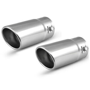 Pack Of 2 Car Muffler Exhaust Tip Stainless Steel Chrome Pipe Fit 1 5 2 Inch