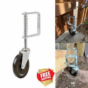 4 inch Spring Loaded Gate Caster Rubber Wheel 125 lb Wood Or Chain Link Fences