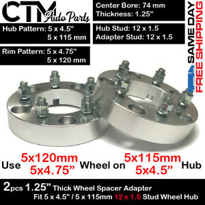 2pc 1 25 Thick 5x4 5 To 5x4 75 5x115 To 5x120 Wheel Adapter Fit 12x1 5 Acura