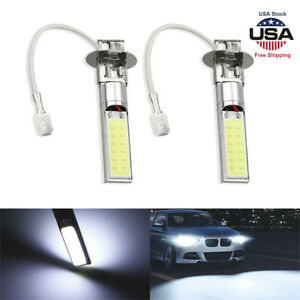 2pcs White H3 100w Fog Driving Lights Cree Led Light Bulbs 6000k Bright 6000lm