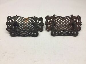 2 Antique Large Cast Brass And Steel Drawer Pulls