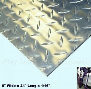 Aluminum Polished Diamond Plate 6 Wide X 24 Long X 1 16 Thick Alloy Type 3003