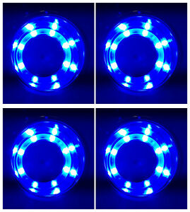 4x Marine Boat Stainless Steel Blue Led Cup Drink Holder Insert Universal