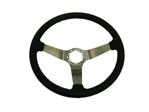 1967 1982 Corvette Black Leather 3 Spoke Brushed Steering Wheel