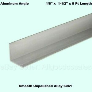 Aluminum Angle 1 8 X 1 1 2 X 8 Ft Length Unpolished Alloy 6061 90 Stock