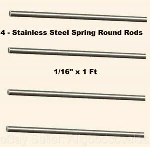 Stainless Steel Spring Round Stock 4 Lengths 1 16 X 1 Ft 302 Alloy Rods