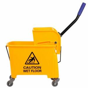 5 Gallon Yellow Mini Press Mop Bucket With Wringer Rolling Cart 20 Quart
