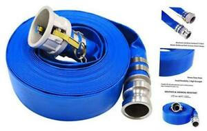 2 X 50 Blue Pvc Lay flat Discharge Hose With Aluminum Camlock C And E Fittings