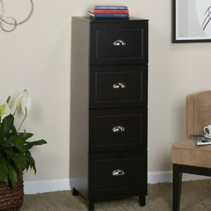 Filing Cabinet 4 drawer Engineered Wood With Half Moon Handles In Black Finish