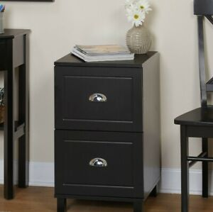 Filing Cabinet 2 drawer Engineered Wood With Half Moon Handles In Black Finish