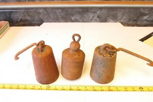 3 Big Old Cast Iron Hanging Scale Weight Lot B
