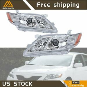 New Headlights Chrome Housing For 2007 2008 2009 Toyota Camry Projector Usa
