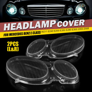 2pcs Headlight Lens Headlamp Cover Clear For Benz E Class W211 E320 E350 E300