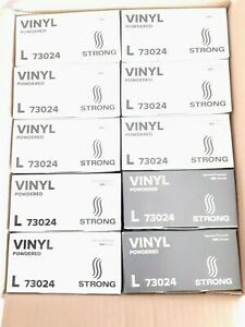 Case Powdered 10 Boxes 100 Each Strong Vinyl Gloves L Size 1000 Total New