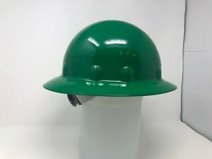 Fibre metal Green Full Brim Hard Hat 8 point Suspension Swing Strap Adjustment