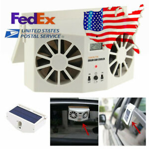 Us Car Window Cooler Air Vent Cool Fan Radiator Solar Powered Conditioner Fan