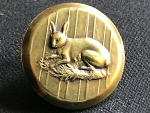 Antique Button Sporting Button Rabbit Brass Rmdc Rich Colour 1 1 8