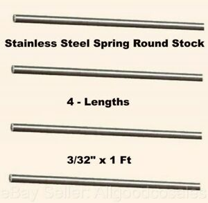 Stainless Steel Spring Round Stock 4 Lengths 3 32 X 1 Ft 302 Alloy Rods