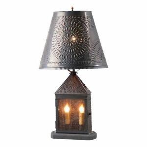 Harbor Tin Lamp With Chisel Shade In Kettle Black Tin 3 Way