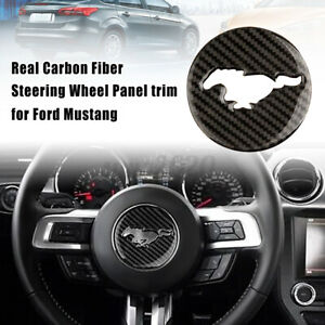 Carbon Fiber Steering Wheel Trim Cover Emblem Sticker For Ford Mustang 2015 17
