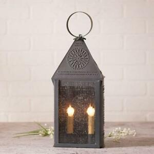 Primitive New Harbor Accent Lantern Light In Blackened Punched Tin