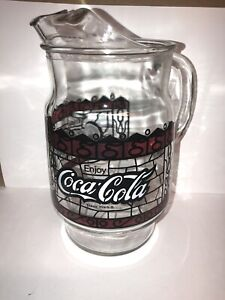 Enjoy Coca-Cola Glass Pitcher Tiffany Style Stained Glass Vintage 1970s