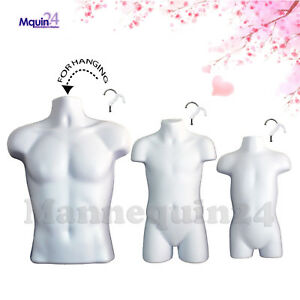 3 Pcs Hanging Mannequin Torso Set White Male Child Toddler Body Forms 3 Hooks