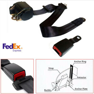 Black 3 Point Retractable Car Safety Seat Belts Lap Strap W Curved Rigid Buckle