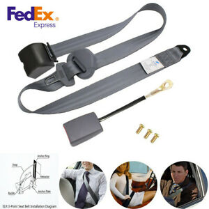 Universal 3 Point Retractable Car Seat Belt Lap Shoulder Adjustable Safety Belt