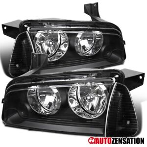 For 2006 2010 Dodge Charger Black Headlights Corner Turn Signal Lamps Pair
