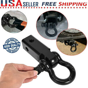 2 Receiver Trailer Hitch With 3 4in D ring Shackle Towing For Trucks Jeeps