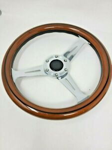 14 Slotted 3 Spoke Steering Wheel Light Wood Riveted Grip 6 Hole Chevy Ford Gmc