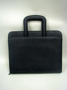 Black Faux Leather Organizer Portfolio With Handles